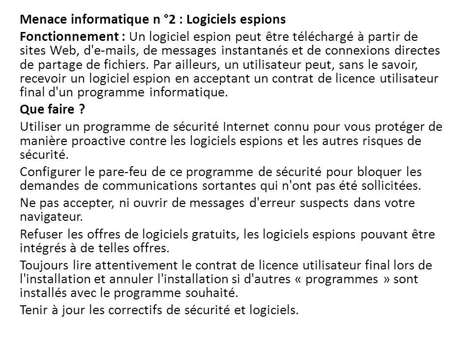 Menace informatique n °2 : Logiciels espions Fonctionnement : Un logiciel espion peut être téléchargé à partir de sites Web, d'e-mails, de messages in