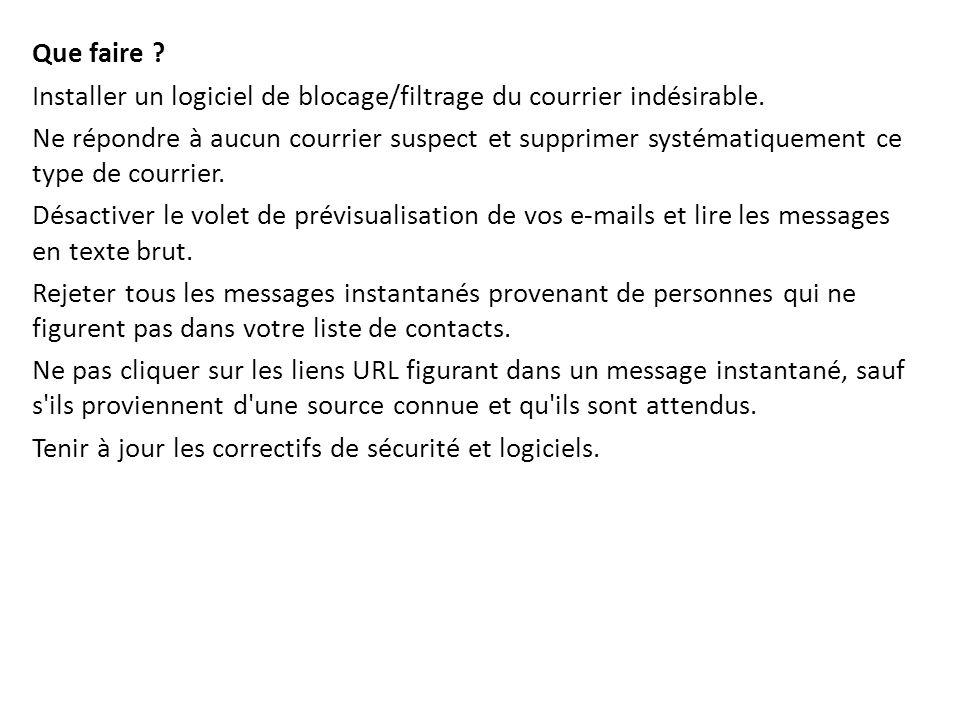 Que faire ? Installer un logiciel de blocage/filtrage du courrier indésirable. Ne répondre à aucun courrier suspect et supprimer systématiquement ce t