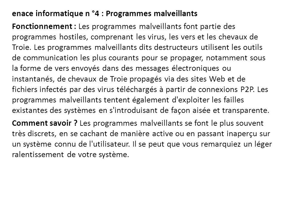 enace informatique n °4 : Programmes malveillants Fonctionnement : Les programmes malveillants font partie des programmes hostiles, comprenant les vir