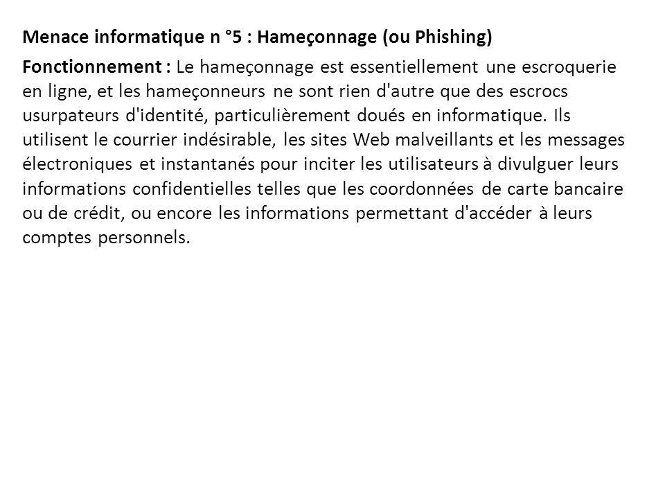 Menace informatique n °5 : Hameçonnage (ou Phishing) Fonctionnement : Le hameçonnage est essentiellement une escroquerie en ligne, et les hameçonneurs