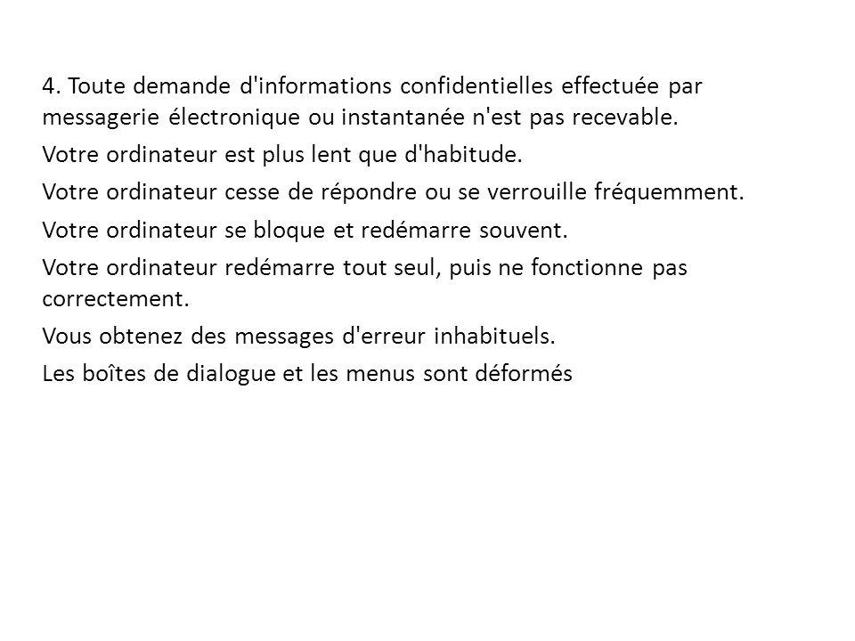 4. Toute demande d'informations confidentielles effectuée par messagerie électronique ou instantanée n'est pas recevable. Votre ordinateur est plus le