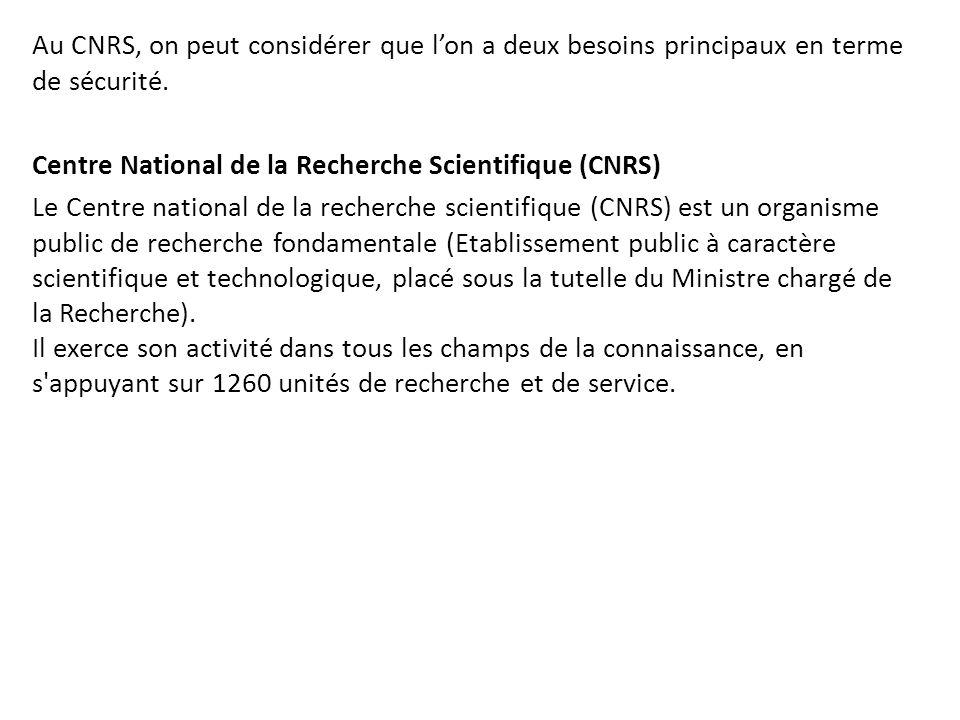 Au CNRS, on peut considérer que l'on a deux besoins principaux en terme de sécurité. Centre National de la Recherche Scientifique (CNRS) Le Centre nat