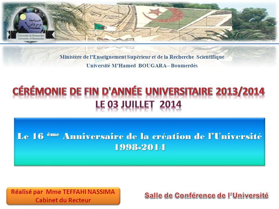 Le 16 ème Anniversaire de la création de l'Université 1998-2014 Ministère de l'Enseignement Supérieur et de la Recherche Scientifique Université M'Ham