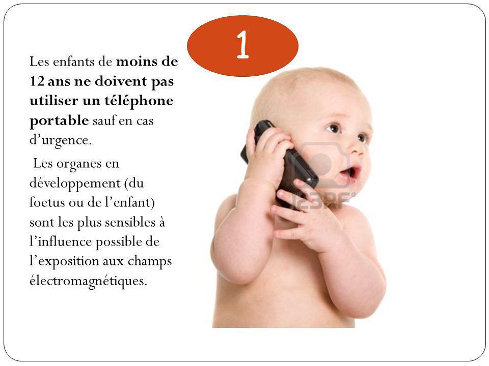 Les enfants de moins de 12 ans ne doivent pas utiliser un téléphone portable sauf en cas d'urgence.