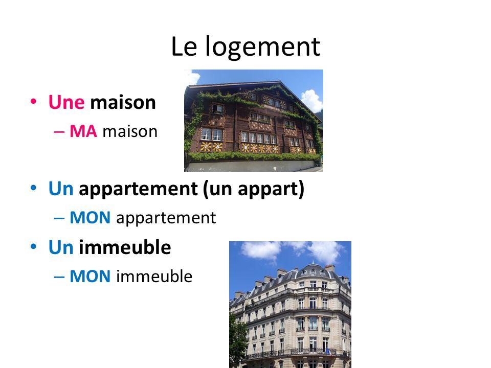 Le logement Une maison – MA maison Un appartement (un appart) – MON appartement Un immeuble – MON immeuble