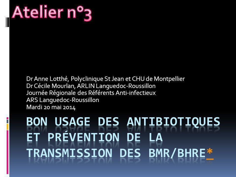 Dr Anne Lotthé, Polyclinique St Jean et CHU de Montpellier Dr Cécile Mourlan, ARLIN Languedoc-Roussillon Journée Régionale des Référents Anti-infectie
