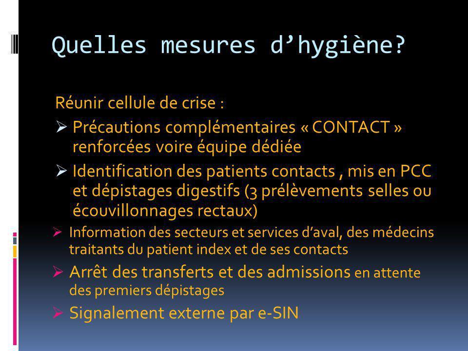 Quelles mesures d'hygiène? Réunir cellule de crise :  Précautions complémentaires « CONTACT » renforcées voire équipe dédiée  Identification des pat