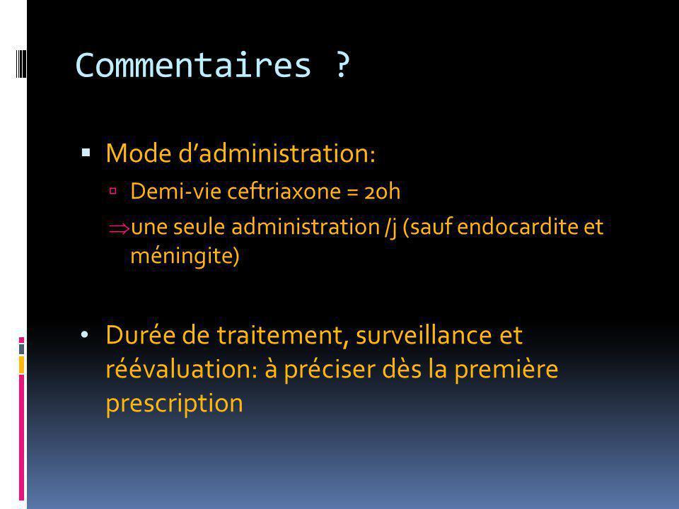Commentaires ?  Mode d'administration:  Demi-vie ceftriaxone = 20h  une seule administration /j (sauf endocardite et méningite) Durée de traitement