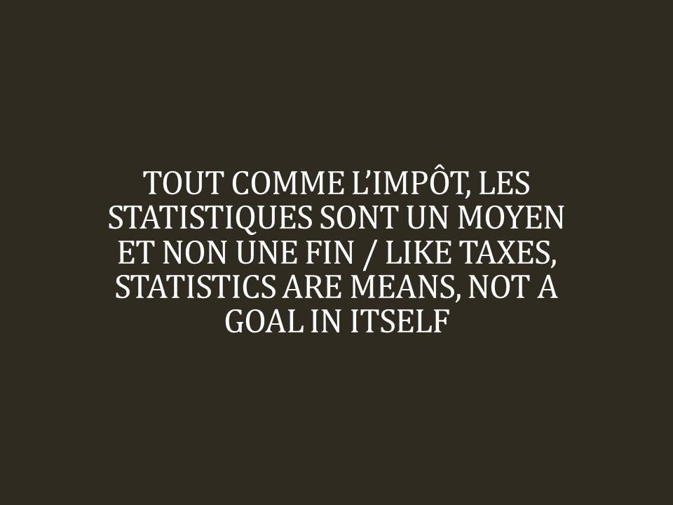 TOUT COMME L'IMPÔT, LES STATISTIQUES SONT UN MOYEN ET NON UNE FIN / LIKE TAXES, STATISTICS ARE MEANS, NOT A GOAL IN ITSELF