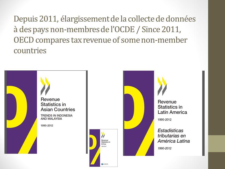 Depuis 2011, élargissement de la collecte de données à des pays non-membres de l'OCDE / Since 2011, OECD compares tax revenue of some non-member countries