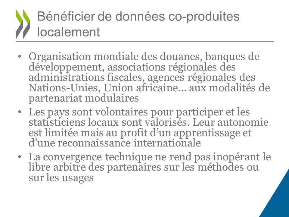 Organisation mondiale des douanes, banques de développement, associations régionales des administrations fiscales, agences régionales des Nations-Unie