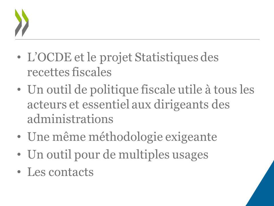 L'OCDE et le projet Statistiques des recettes fiscales Un outil de politique fiscale utile à tous les acteurs et essentiel aux dirigeants des administrations Une même méthodologie exigeante Un outil pour de multiples usages Les contacts