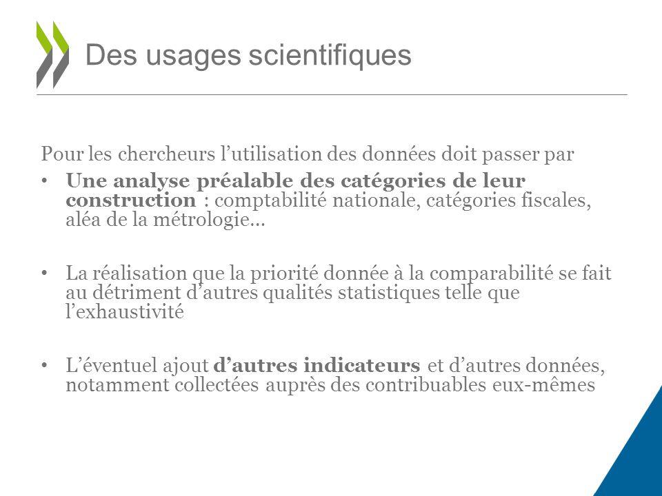 Pour les chercheurs l'utilisation des données doit passer par Une analyse préalable des catégories de leur construction : comptabilité nationale, caté