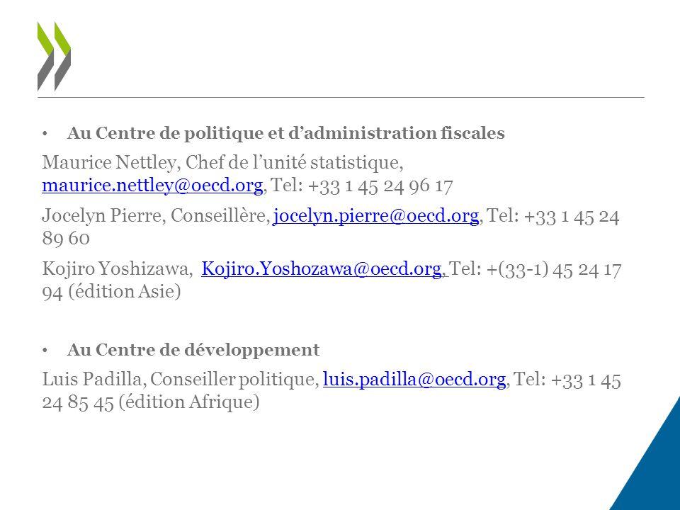 Au Centre de politique et d'administration fiscales Maurice Nettley, Chef de l'unité statistique, maurice.nettley@oecd.org, Tel: +33 1 45 24 96 17 maurice.nettley@oecd.org Jocelyn Pierre, Conseillère, jocelyn.pierre@oecd.org, Tel: +33 1 45 24 89 60jocelyn.pierre@oecd.org Kojiro Yoshizawa, Kojiro.Yoshozawa@oecd.org, Tel: +(33-1) 45 24 17 94 (édition Asie)Kojiro.Yoshozawa@oecd.org Au Centre de développement Luis Padilla, Conseiller politique, luis.padilla@oecd.org, Tel: +33 1 45 24 85 45 (édition Afrique)luis.padilla@oecd.org