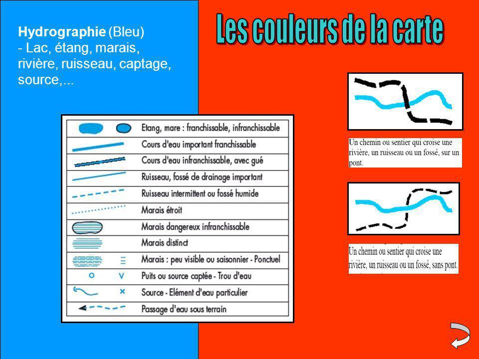 Hydrographie (Bleu) - Lac, étang, marais, rivière, ruisseau, captage, source,...