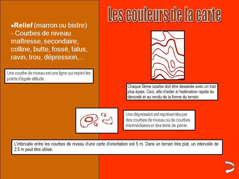  Relief (marron ou bistre) - Courbes de niveau maîtresse, secondaire, colline, butte, fossé, talus, ravin, trou, dépression,...