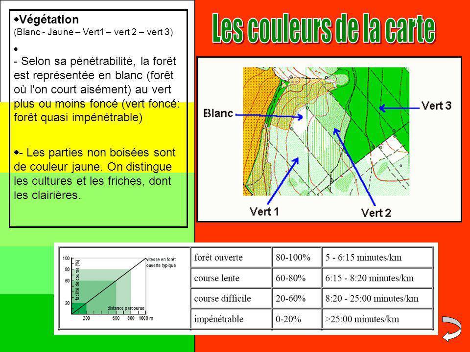 Par exemple/ Echelle :1/5000ème : 1cm sur la carte représente 50m sur le terrain Petit conseil mémotechnique : (enlever toujours 2 zéros) 1/7500 ème : 1cm = 75m 1/10000 ème : 1cm = 100m 1/25000 ème : 1cm = 250m 1 2 Distance sur la carte en cm de la balise 1 à la balise 2 = 4,5cm Echelle de 1/10000 ème 1cm=100m Distance réelle = 4,5 X 100 = 450m On appelle « échelle » le coefficient de proportionnalité qui permet de passer des distances réelles aux distances sur la carte et vice versa…