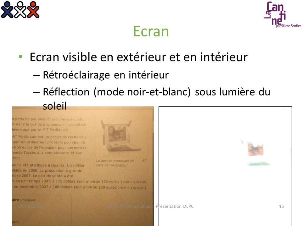 Ecran Ecran visible en extérieur et en intérieur – Rétroéclairage en intérieur – Réflection (mode noir-et-blanc) sous lumière du soleil 04/09/2014© OL