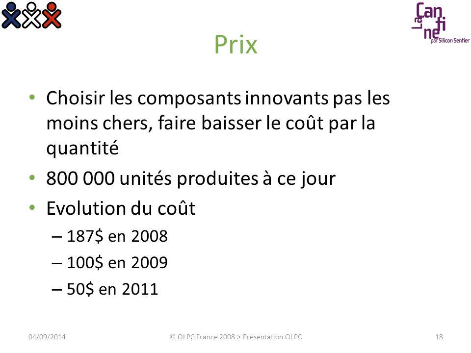 Prix Choisir les composants innovants pas les moins chers, faire baisser le coût par la quantité 800 000 unités produites à ce jour Evolution du coût