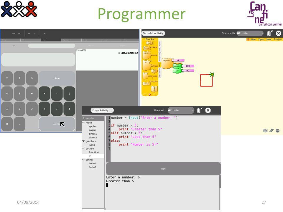 Programmer 04/09/2014© OLPC France 2008 > Présentation OLPC27