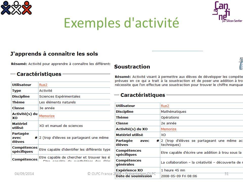 Exemples d'activité 3104/09/2014© OLPC France 2008 > Présentation OLPC