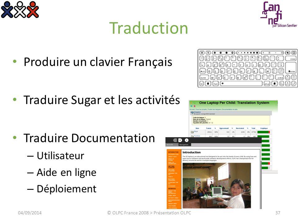 Traduction Produire un clavier Français Traduire Sugar et les activités Traduire Documentation – Utilisateur – Aide en ligne – Déploiement 04/09/2014©