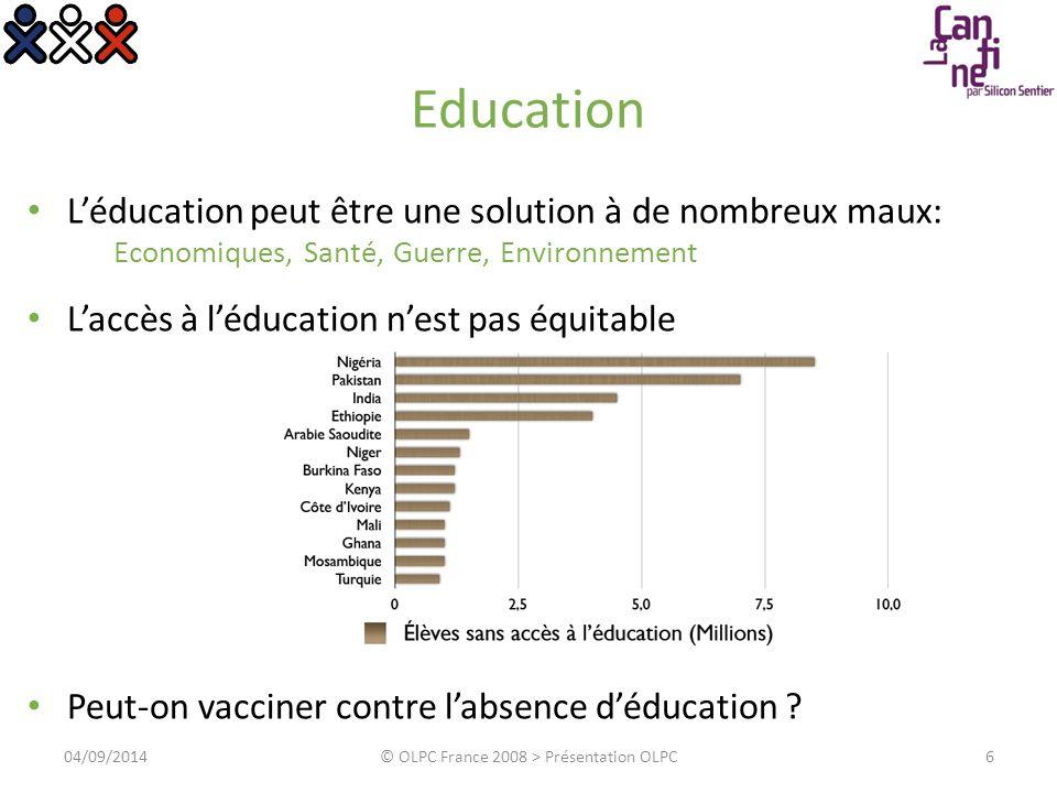 Education L'éducation peut être une solution à de nombreux maux: Economiques, Santé, Guerre, Environnement L'accès à l'éducation n'est pas équitable P