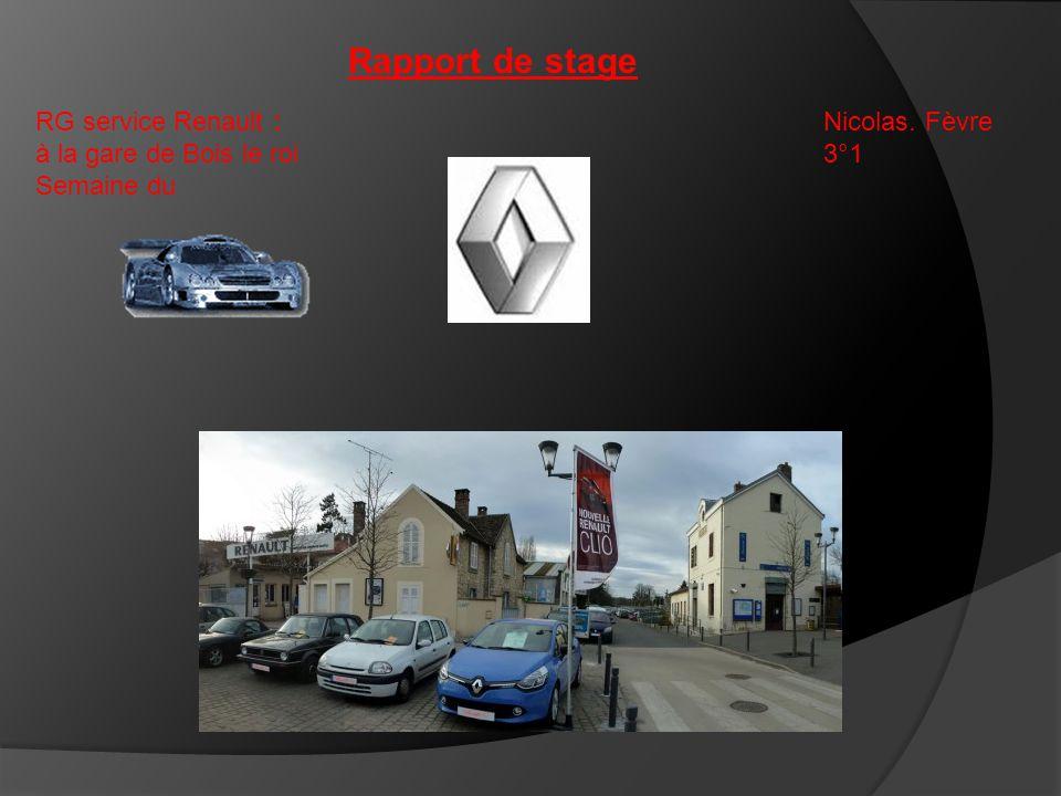 Rapport de stage RG service Renault : à la gare de Bois le roi Semaine du Nicolas. Fèvre 3°1
