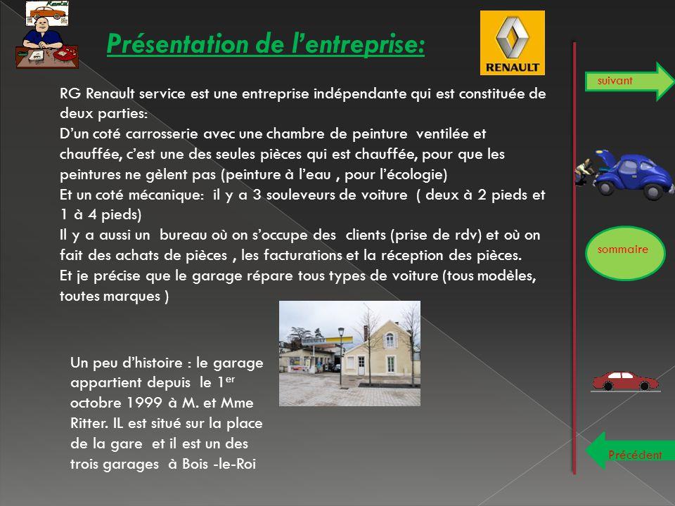 Présentation de l'entreprise: sommaire suivant Précédent RG Renault service est une entreprise indépendante qui est constituée de deux parties: D'un c