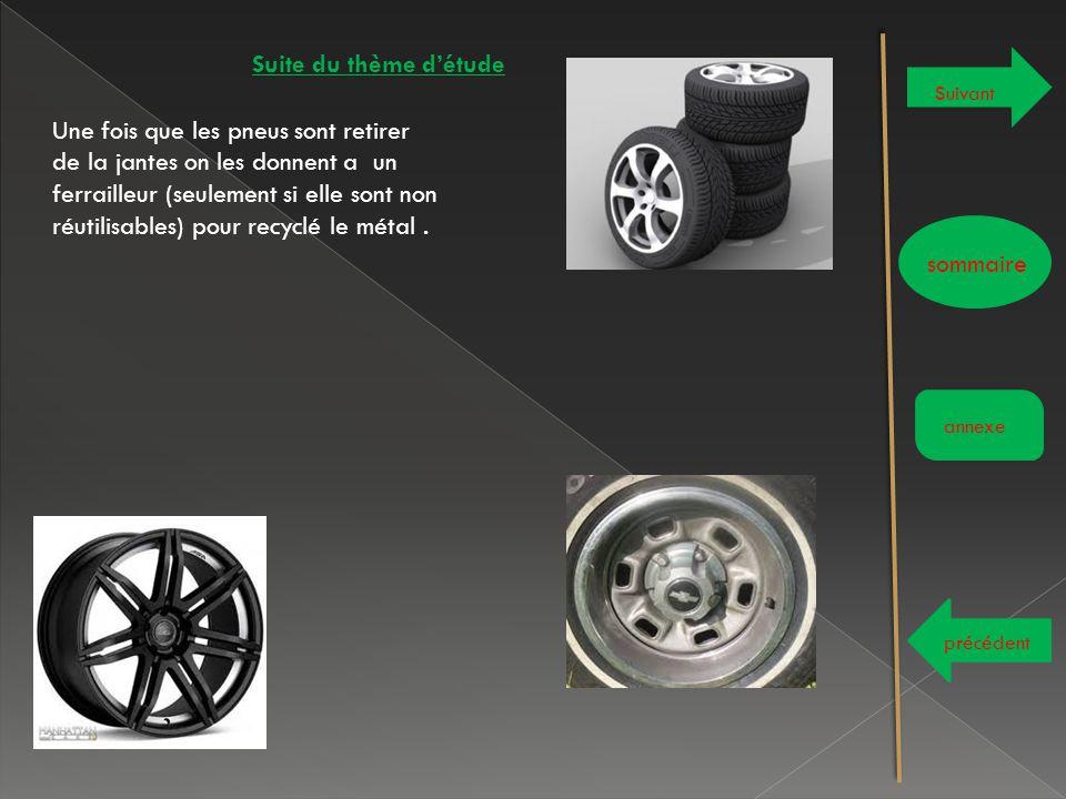 Suite du thème d'étude Suivant sommaire annexe précédent Une fois que les pneus sont retirer de la jantes on les donnent a un ferrailleur (seulement s