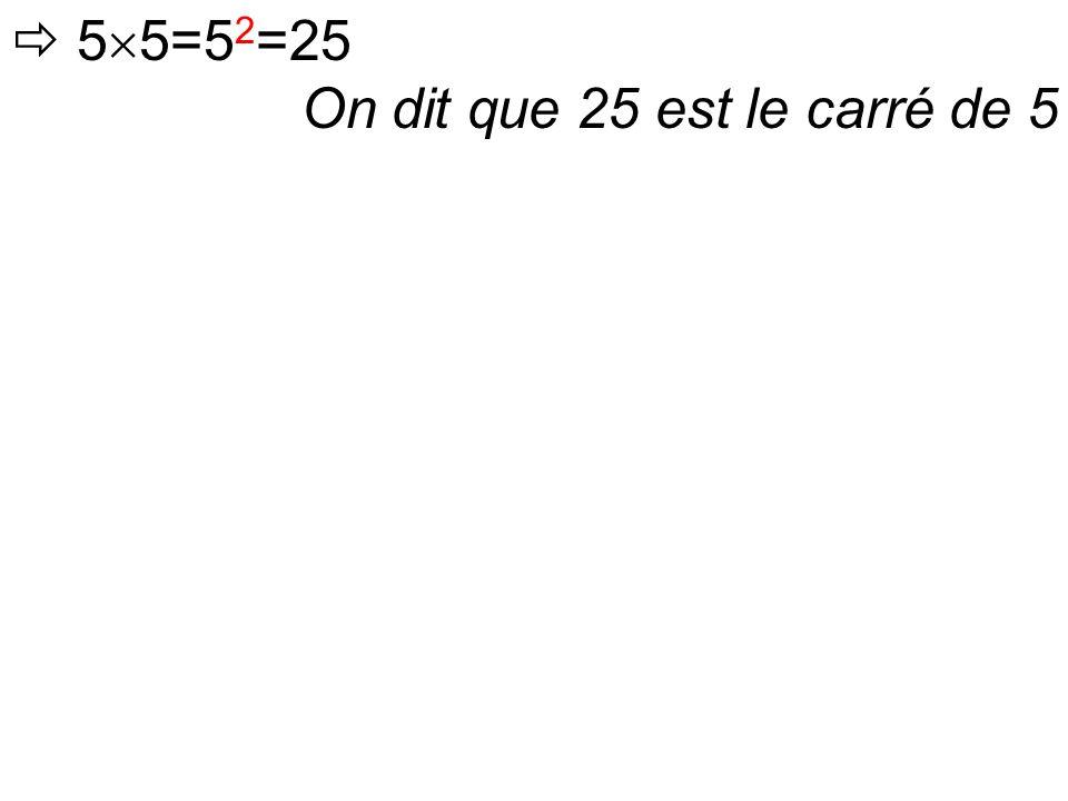 On dit que 25 est le carré de 5