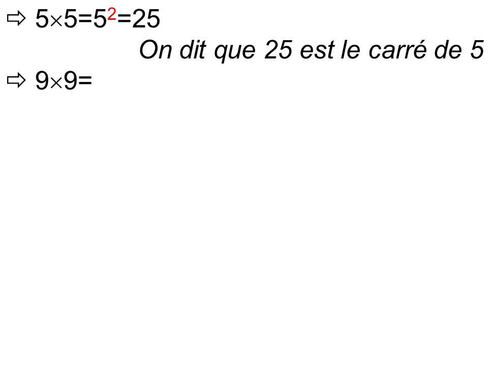  5  5=5 2 =25 On dit que 25 est le carré de 5  9  9=