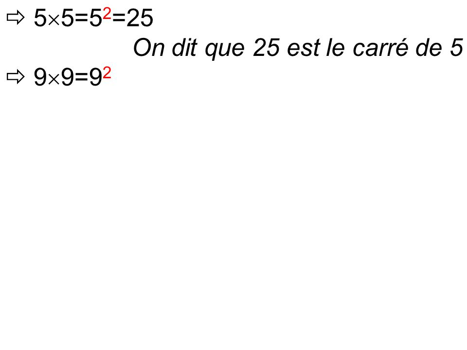  5  5=5 2 =25 On dit que 25 est le carré de 5  9  9=9 2