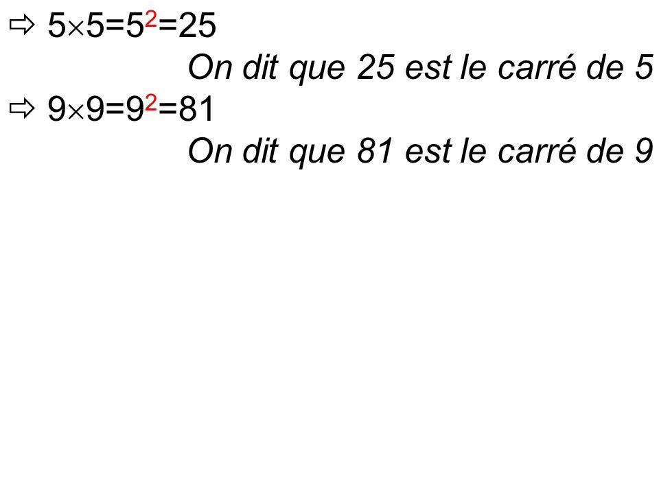  5  5=5 2 =25 On dit que 25 est le carré de 5  9  9=9 2 =81 On dit que 81 est le carré de 9