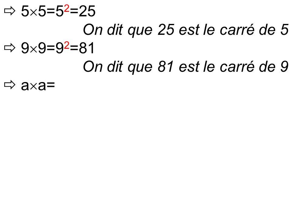  5  5=5 2 =25 On dit que 25 est le carré de 5  9  9=9 2 =81 On dit que 81 est le carré de 9  a  a=