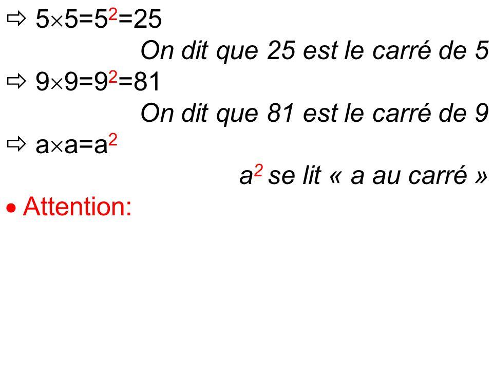  5  5=5 2 =25 On dit que 25 est le carré de 5  9  9=9 2 =81 On dit que 81 est le carré de 9  a  a=a 2 a 2 se lit « a au carré »  Attention: