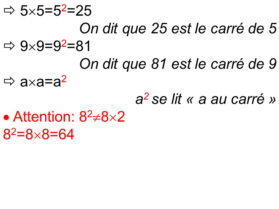  5  5=5 2 =25 On dit que 25 est le carré de 5  9  9=9 2 =81 On dit que 81 est le carré de 9  a  a=a 2 a 2 se lit « a au carré »  Attention: 8 2  8  2 8 2 =8  8=64