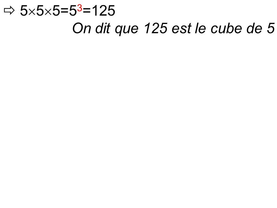 On dit que 125 est le cube de 5