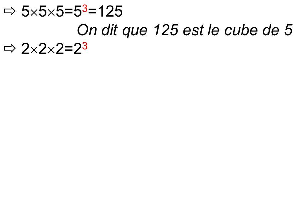  5  5  5=5 3 =125 On dit que 125 est le cube de 5  2  2  2=2 3