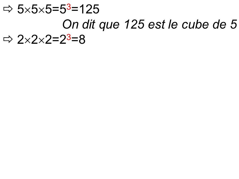  5  5  5=5 3 =125 On dit que 125 est le cube de 5  2  2  2=2 3 =8