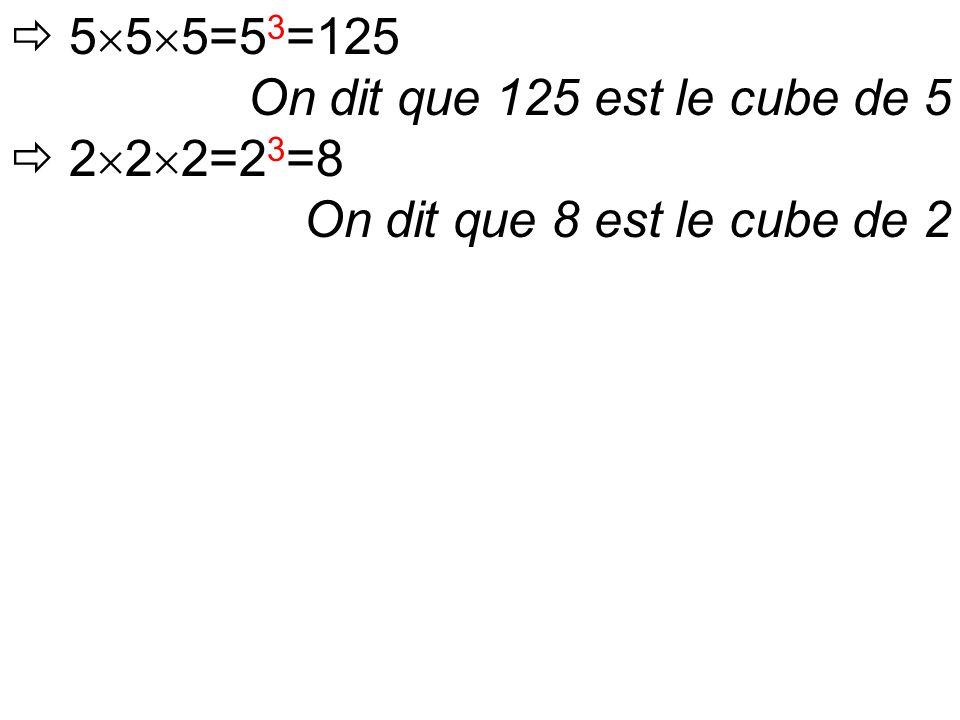  5  5  5=5 3 =125 On dit que 125 est le cube de 5  2  2  2=2 3 =8 On dit que 8 est le cube de 2
