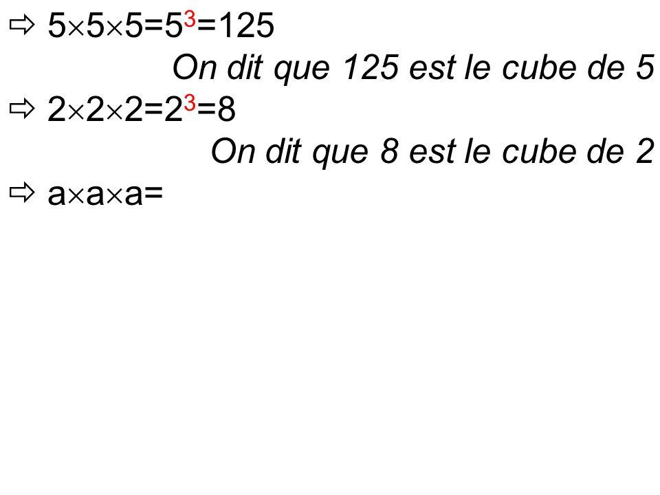  5  5  5=5 3 =125 On dit que 125 est le cube de 5  2  2  2=2 3 =8 On dit que 8 est le cube de 2  a  a  a=