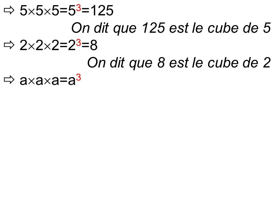  5  5  5=5 3 =125 On dit que 125 est le cube de 5  2  2  2=2 3 =8 On dit que 8 est le cube de 2  a  a  a=a 3