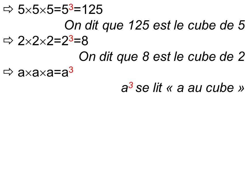  5  5  5=5 3 =125 On dit que 125 est le cube de 5  2  2  2=2 3 =8 On dit que 8 est le cube de 2  a  a  a=a 3 a 3 se lit « a au cube »