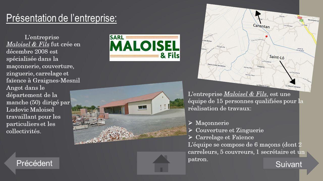 Présentation de l'entreprise: Précédent L'entreprise Maloisel & Fils fut crée en décembre 2008 est spécialisée dans la maçonnerie, couverture, zinguer