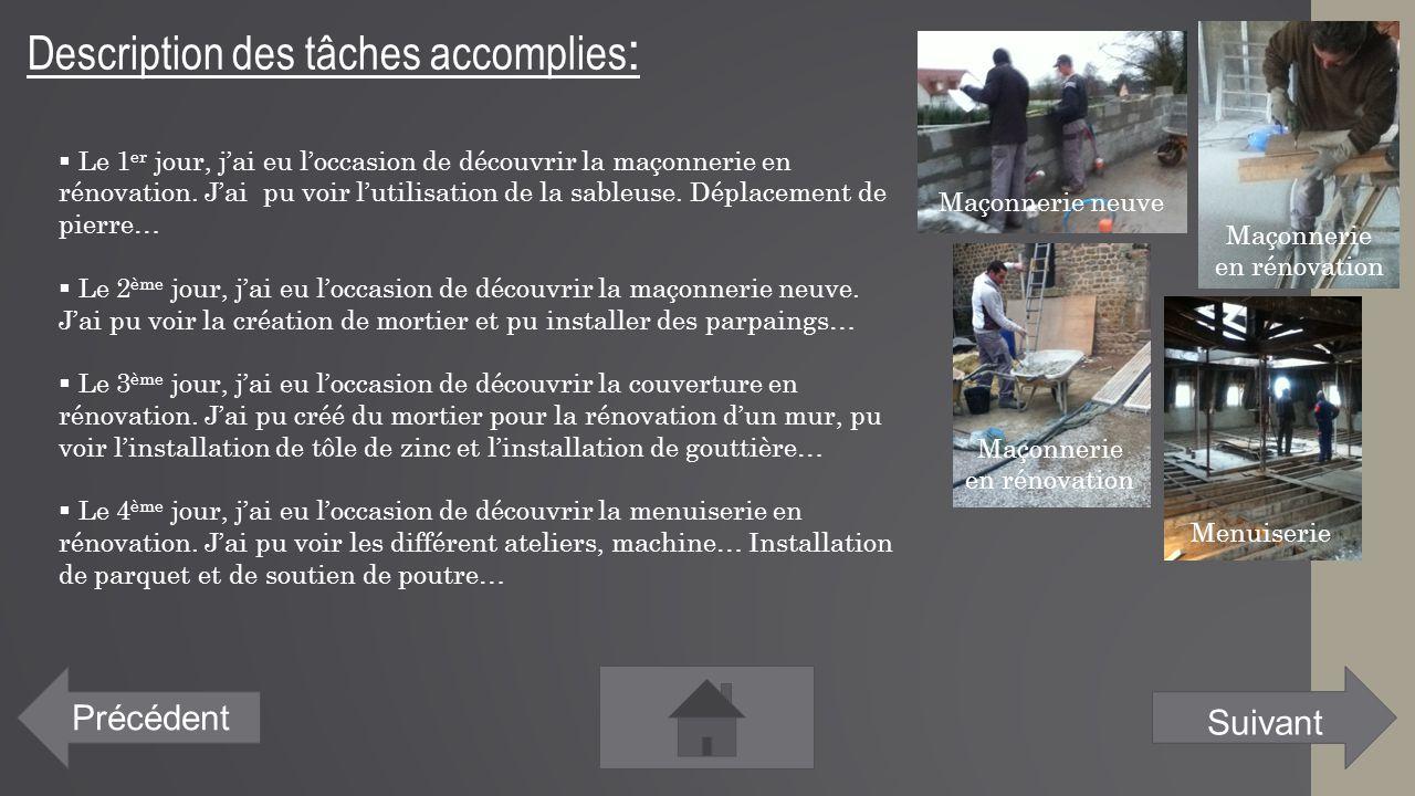 Description des tâches accomplies : Précédent  Le 1 er jour, j'ai eu l'occasion de découvrir la maçonnerie en rénovation. J'ai pu voir l'utilisation
