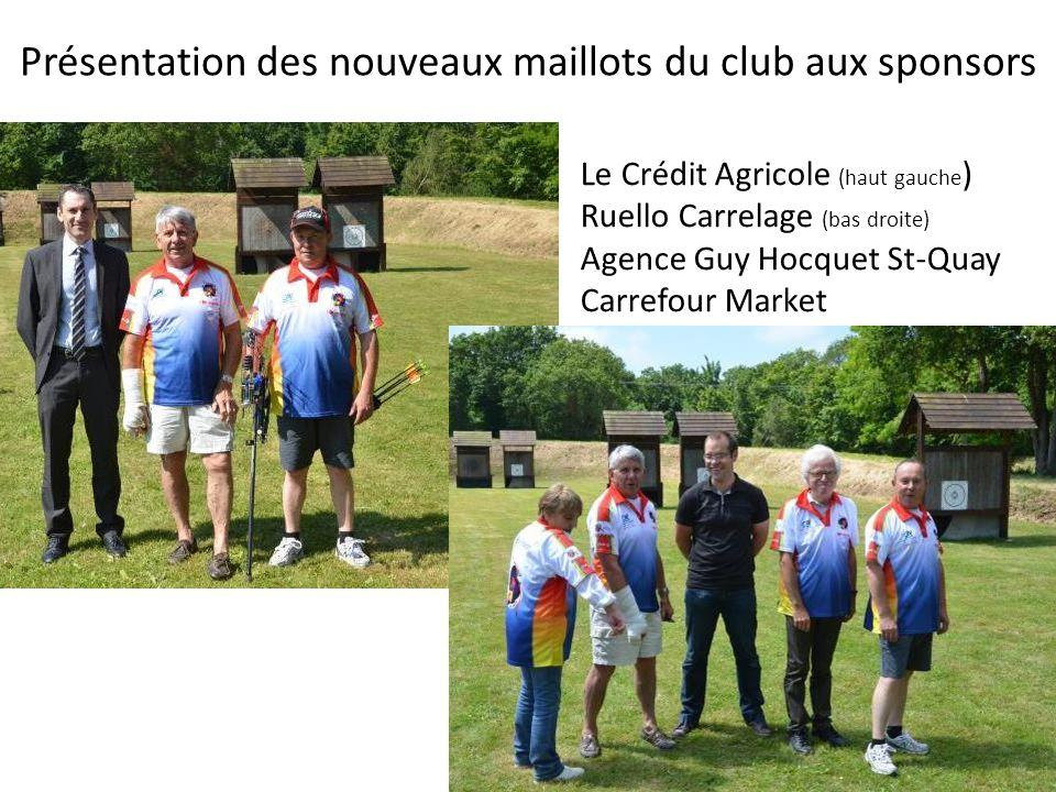 Présentation des nouveaux maillots du club aux sponsors Le Crédit Agricole (haut gauche ) Ruello Carrelage (bas droite) Agence Guy Hocquet St-Quay Carrefour Market