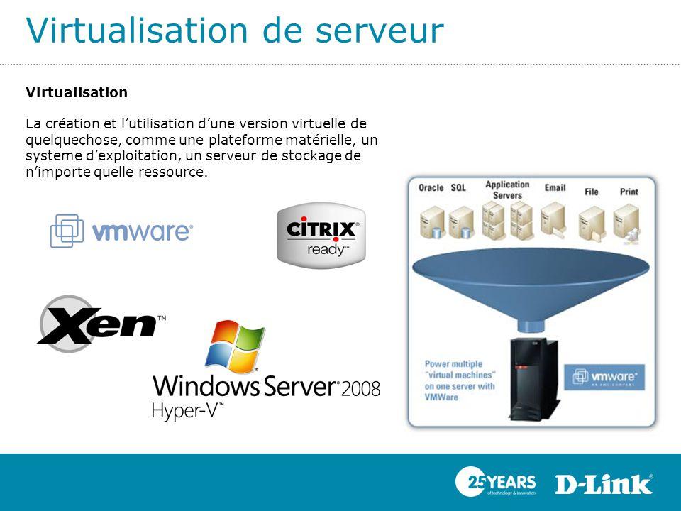 Virtualisation de serveur Virtualisation La création et l'utilisation d'une version virtuelle de quelquechose, comme une plateforme matérielle, un sys