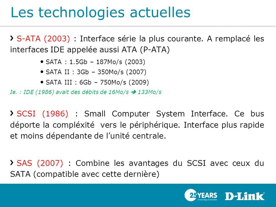 Les technologies actuelles S-ATA (2003) : Interface série la plus courante. A remplacé les interfaces IDE appelée aussi ATA (P-ATA) SATA : 1.5Gb – 187