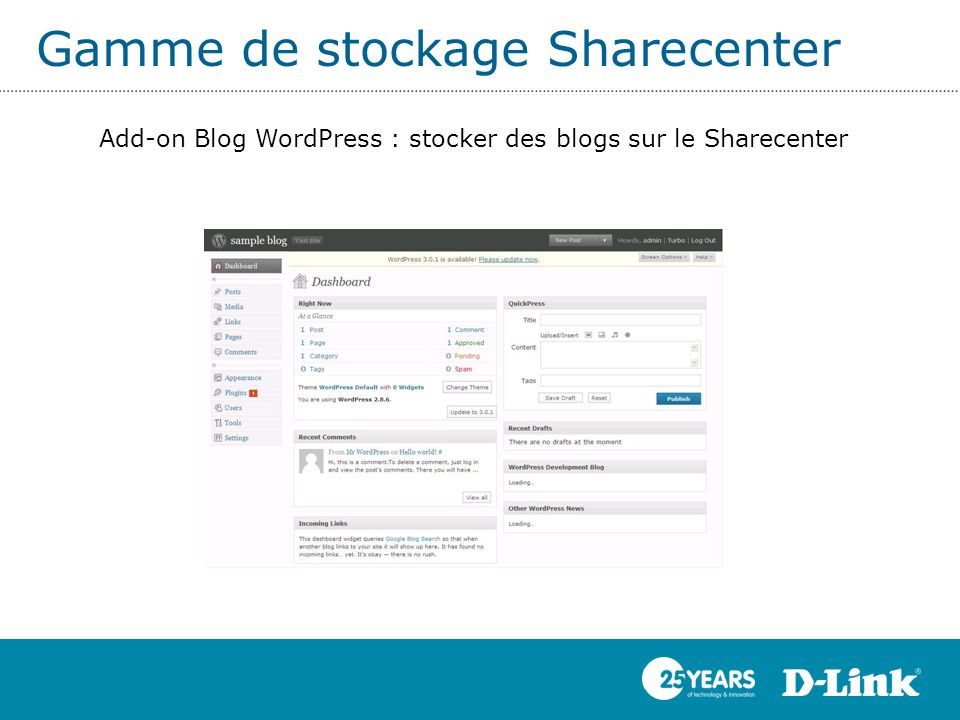 Gamme de stockage Sharecenter Add-on Blog WordPress : stocker des blogs sur le Sharecenter